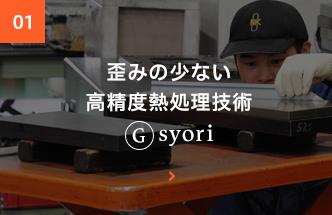 歪の少ない高精度熱処理Gsyori